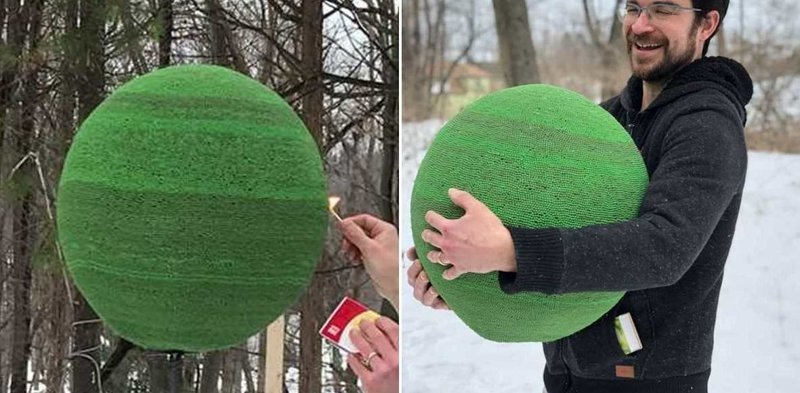 Он год клеил сферу из 42 тысяч спичек, чтобы в конце её просто поджечь