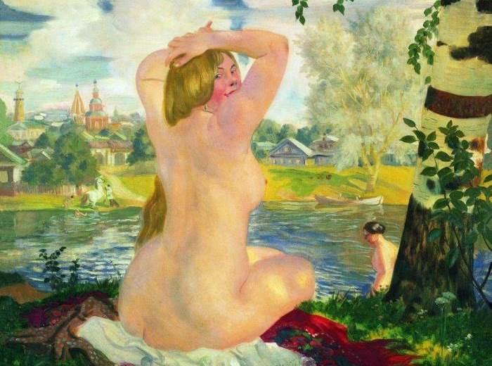 Б. Кустодиев. Купальщица, 1921