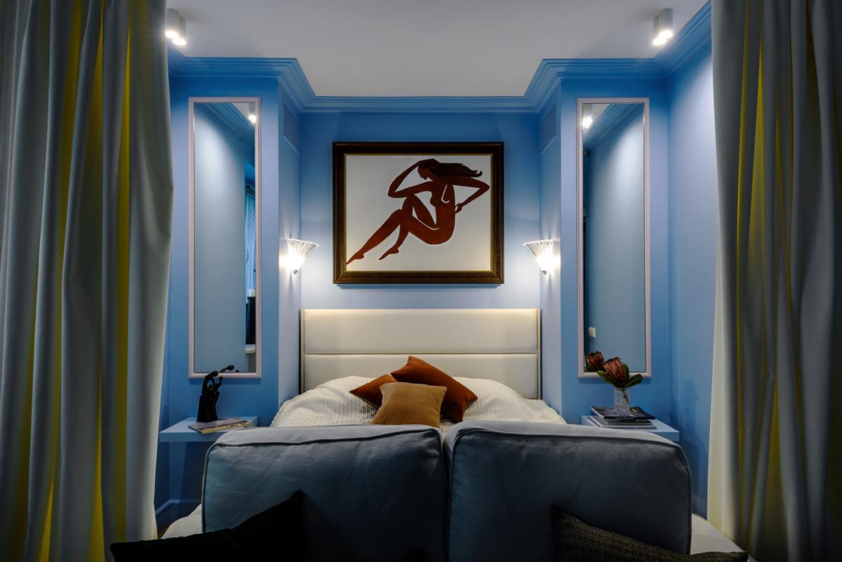 Спальня в цветах: Бежевый, Бирюзовый, Фиолетовый. Спальня в стиле: Минимализм.