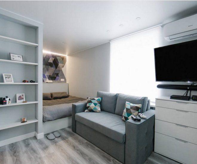 дизайн гостиной спальни ниша стена