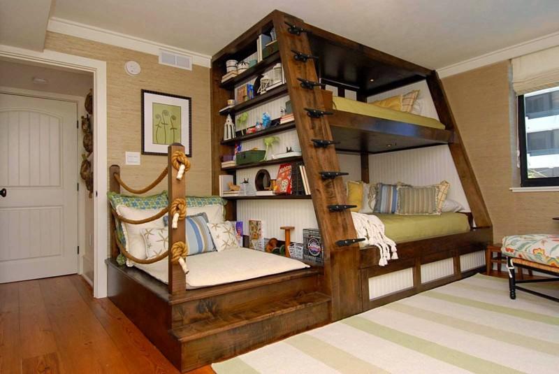 Двухъярусная кровать — это когда и снизу, и сверху есть спальное место двухъярусная кровать, дизайн, идеи, маленькая квартира