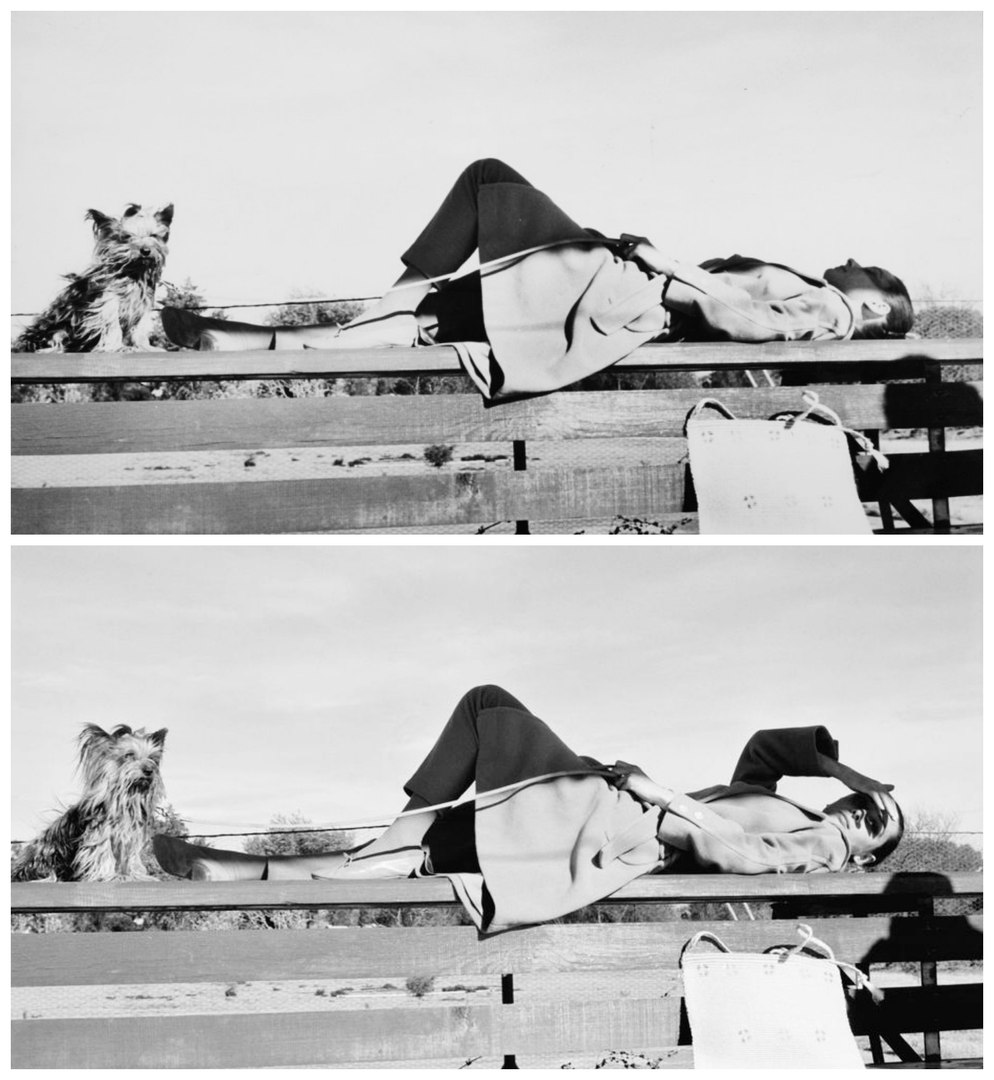 """Одри Хепберн со своей собакой Mr. Famous на съемках """"Непрощенной"""", Мексика, 1959."""