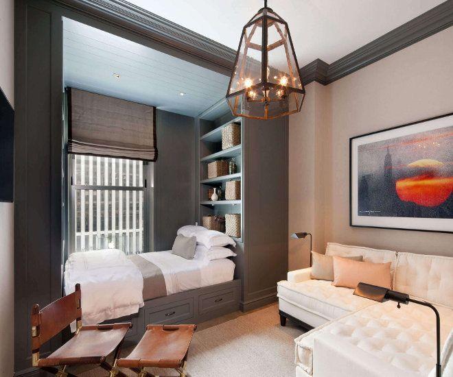 дизайн гостиной спальни ниша окно