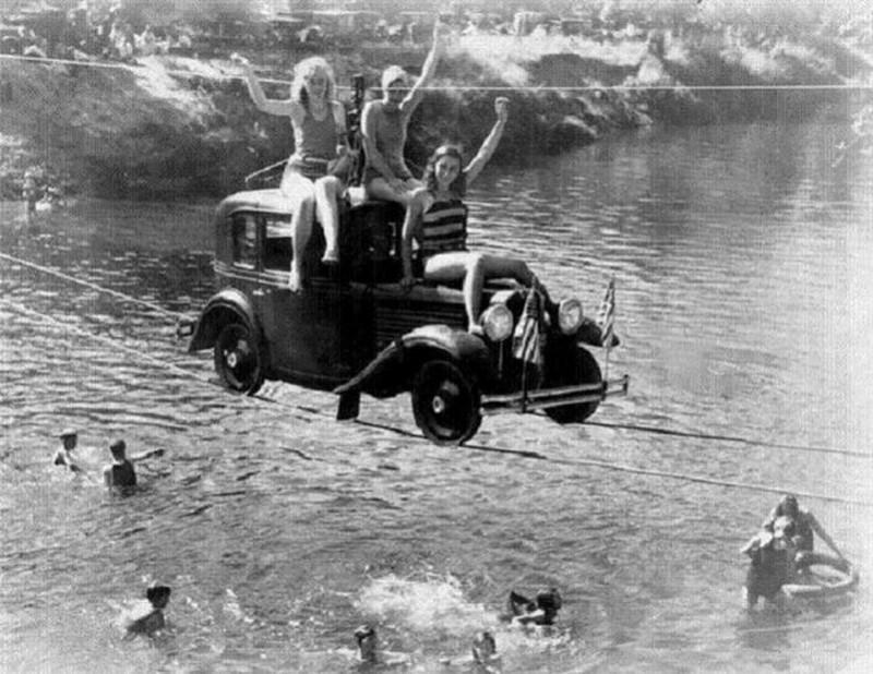 Тросовый автомобильный мост, 1932 год, США история, картинки, фото