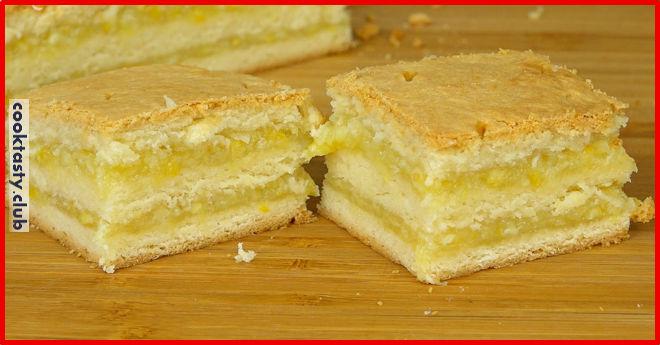 Лимонное пирожное с апельсиновой начинкой