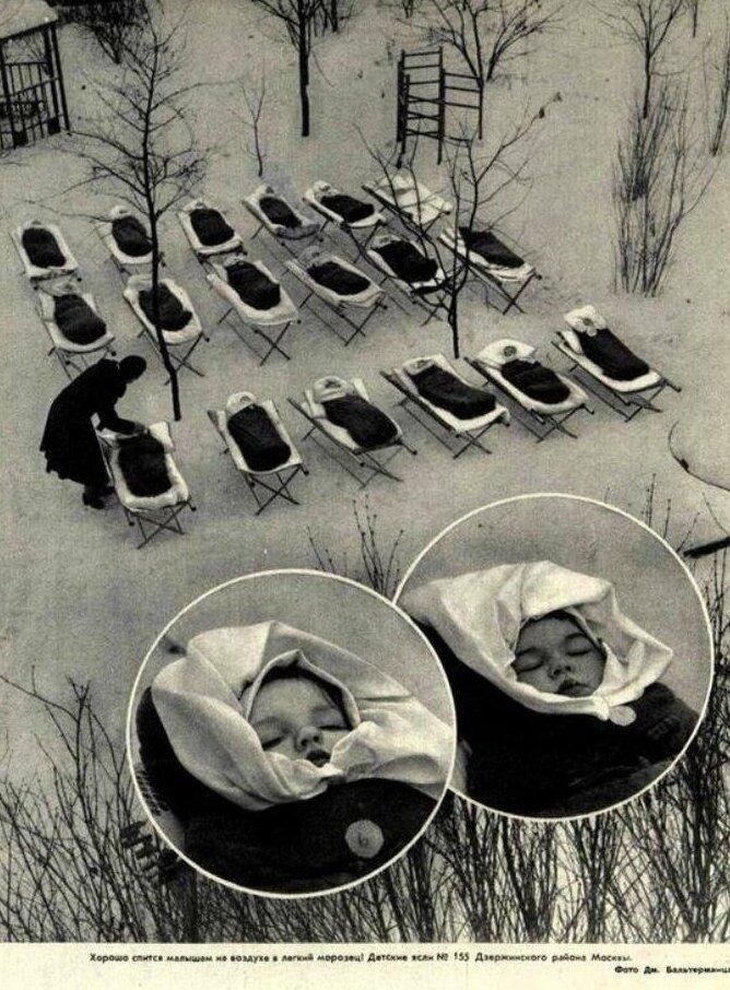 23. Детские ясли СССР, сон на морозе, 1958 год жизнь, исторические фото, история, прошлое, фото
