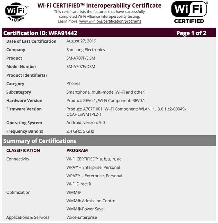 Смартфон среднего уровня Samsung Galaxy A70s получил сертификацию Wi-Fi Alliance новости,смартфон,статья