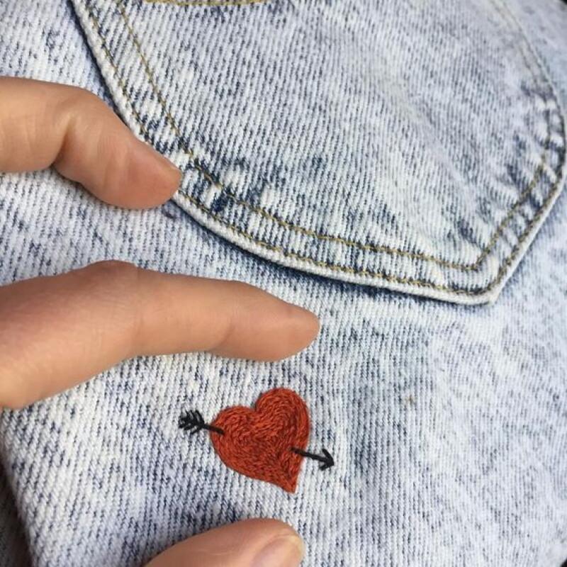 очень рисунок из ниток на джинсах думаешь что