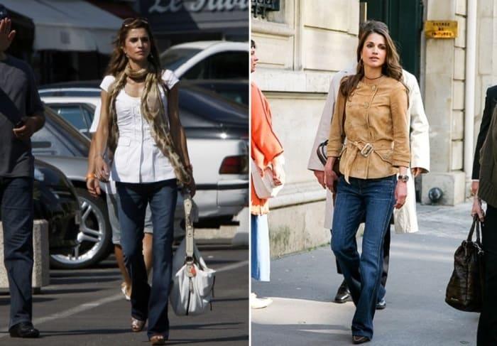 В повседневной жизни королева часто носит джинсы | Фото: fashiony.ru и ru.hellomagazine.com