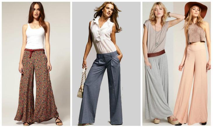 Несколько вариантов летних женских брюк из льна на девушках