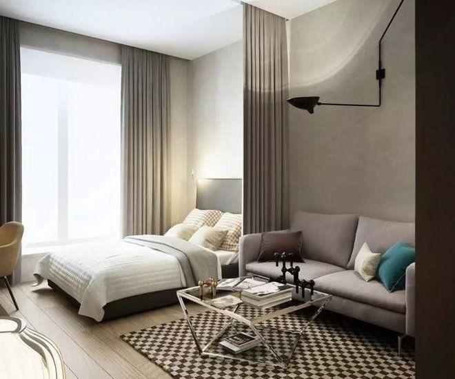 дизайн большой спальни текстиль перегородки