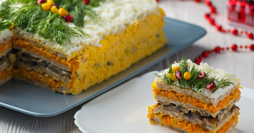 Закусочный торт с мясом: подаем в начале застолья