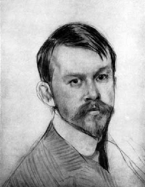 Графический автопортрет. Автор: Б.М.Кустодиев.