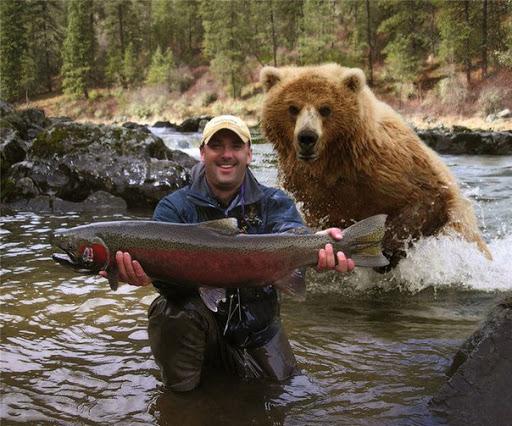 Как наши люди предохраняются от медведей на камчатской рыбалке