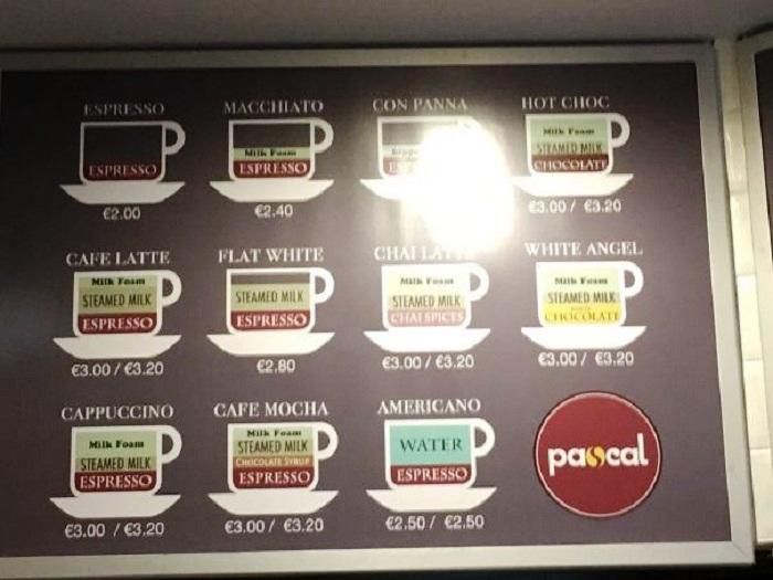 Точный состав кофе и его крепость можно узнать из схемы установленной прямо в кафетерии. | Фото: fishki.net.
