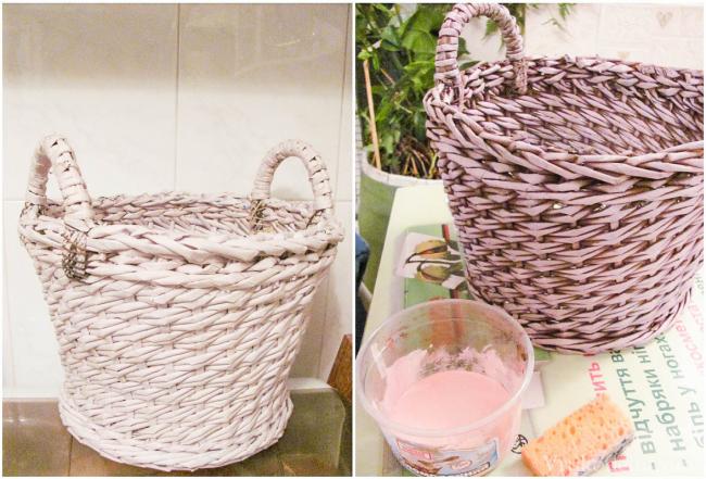 Покраска плетенного изделия