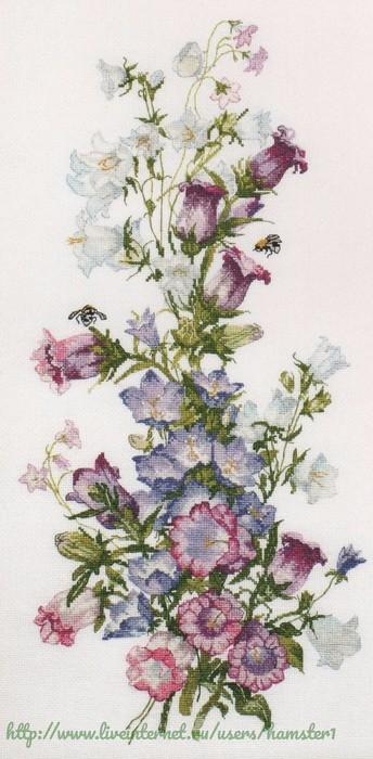 """Милая вышивка — """"Летние цветы""""(со схемой)"""