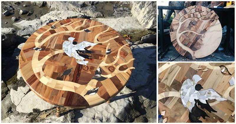 Необычная комбинация: 12 видов древесины в одном столе