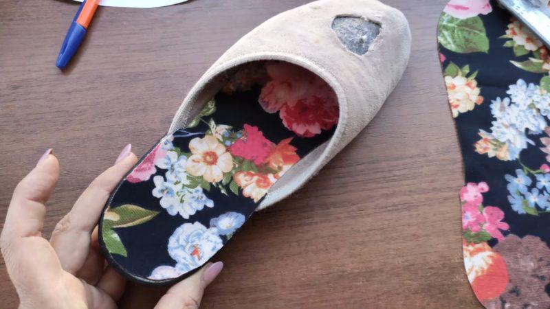 Отличная идея для дома: красивое преображения любимых тапочек обувь,переделки,рукоделие,своими руками,сделай сам