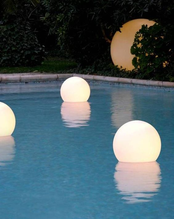 12 floating waterproof LED globes for lighting up the pool and you can swim with them