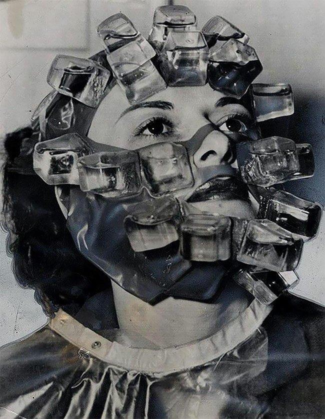 1. Охлаждающая маска для лица, 1950-е винтаж, интересно, исторические кадры, исторические фото, история, ретро фото, старые фото, фото