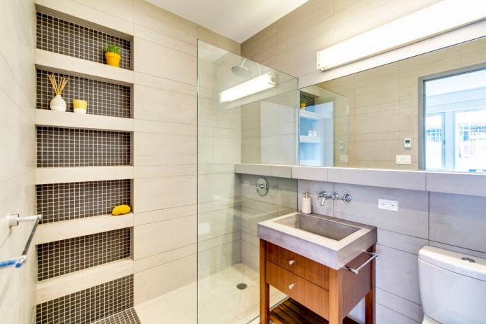 ниши из мозаики в интерьере ванной