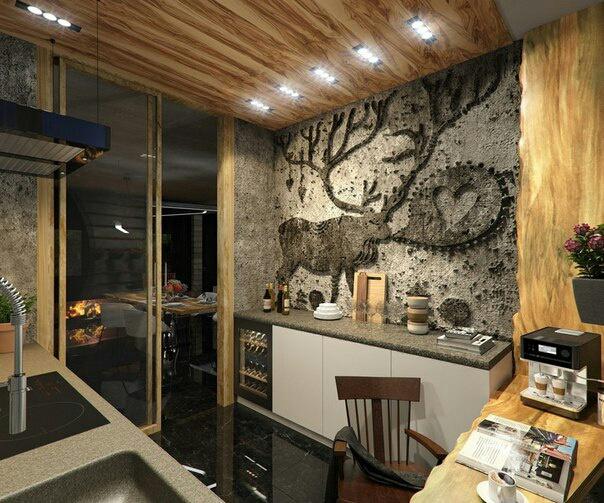 Кухня в стиле LOFT, из бетона