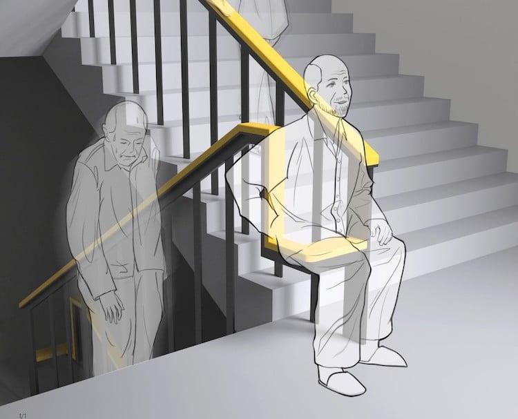 Скамейка из перил для пожилых людей