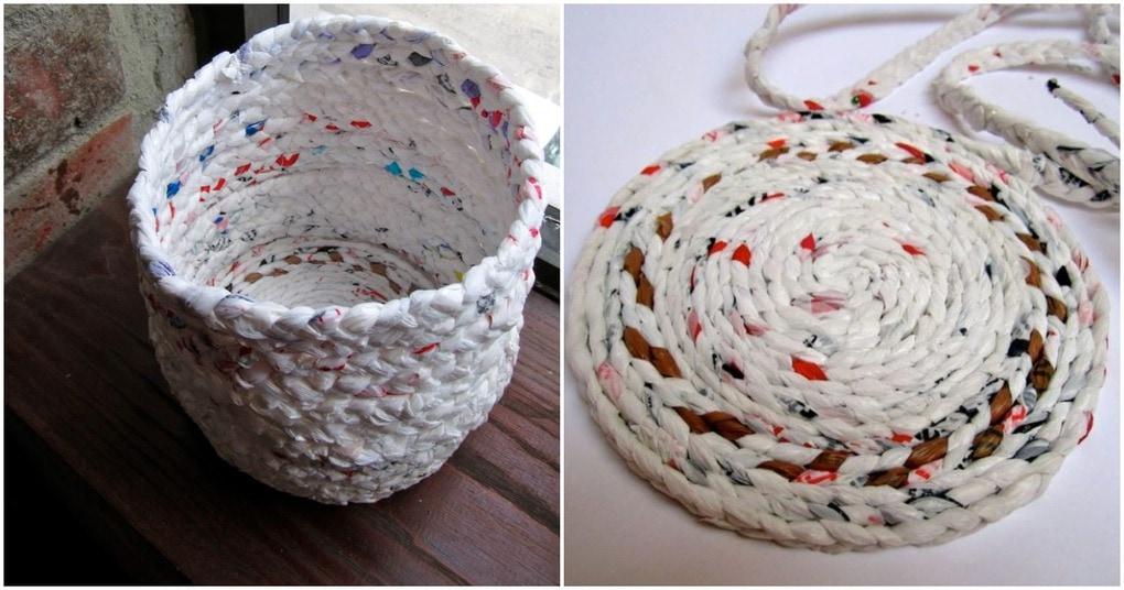 Плетёная корзинка для дома из материала, который точно есть у каждого