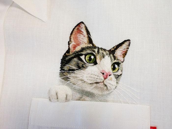 Карманные котики: чудесные вышивки от японского дизайнера вдохновляемся,вышивка