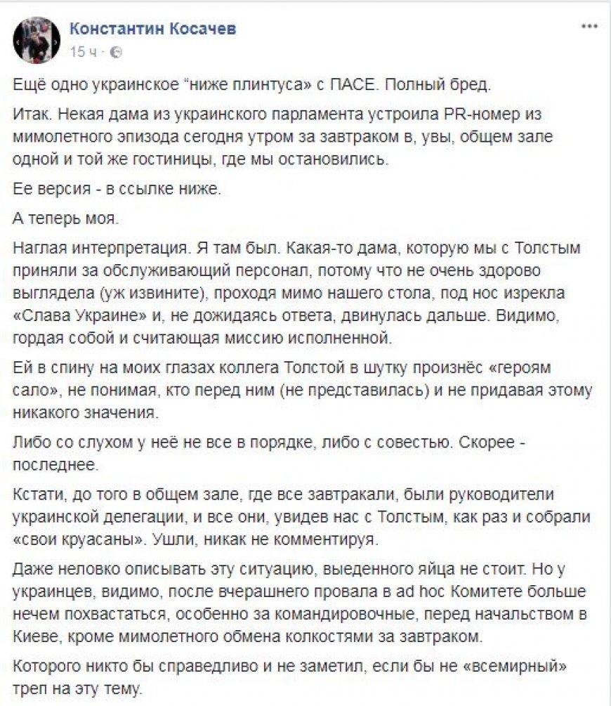 Косачев признался, что в ПАСЕ спутал делегата от Украины Ионову с обслуживающим персоналом