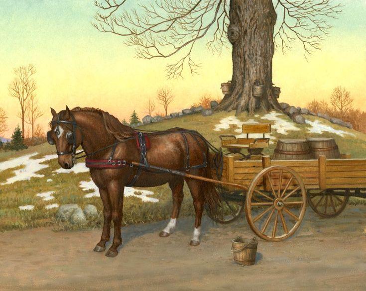 Картинки лошадка с телегой