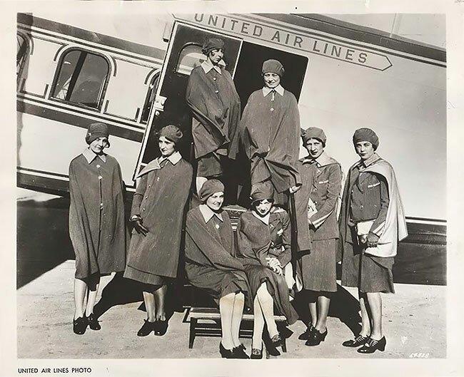 10. Стюардессы авиакомпании United Airlines, 1930 год винтаж, интересно, исторические кадры, исторические фото, история, ретро фото, старые фото, фото