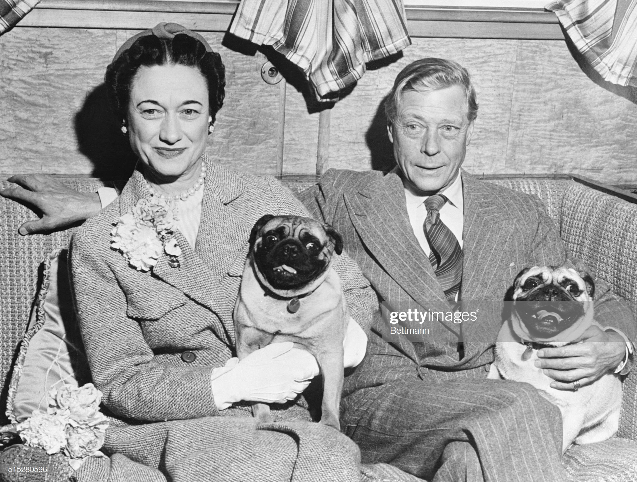 Duke and Duchess of Windsor Posing with Their Dogs : News Photo