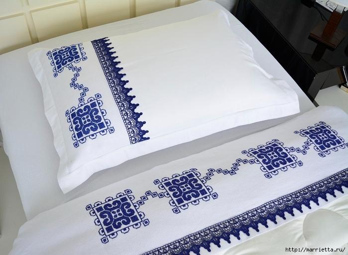 Вышивка крестом в морском стиле для постельного белья