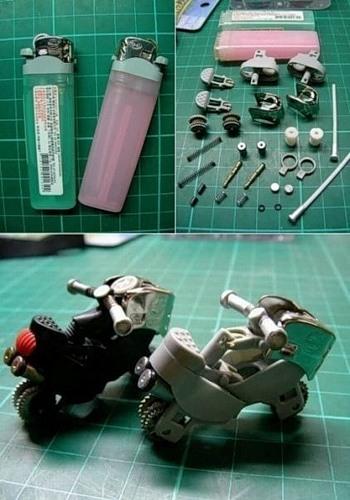 Этапы процесса создания мотоцикла из зажигалок