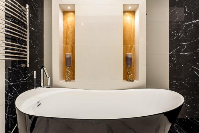 ниши с подсветкой в интерьере ванной