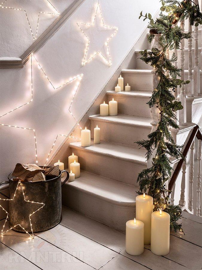 Идеи новогоднего украшения лестницы идеи для дома,новогодний декор
