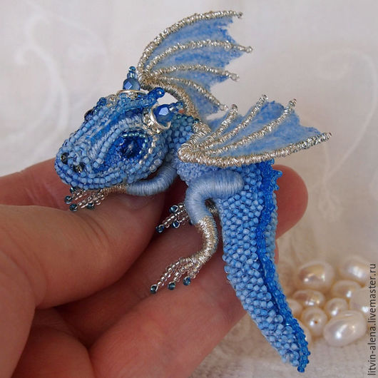 Brooches handmade. Livemaster - handmade. Buy Brooch dragon 'Frost' Brooch beads. Embroidered dragon.Brooch, brooch handmade