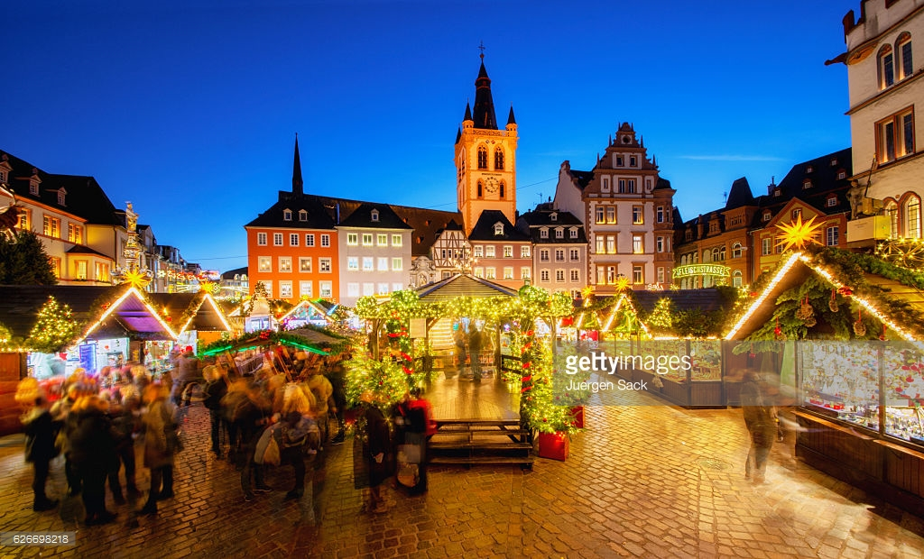 Trier - Main Square and Christmas Market : Stock Photo