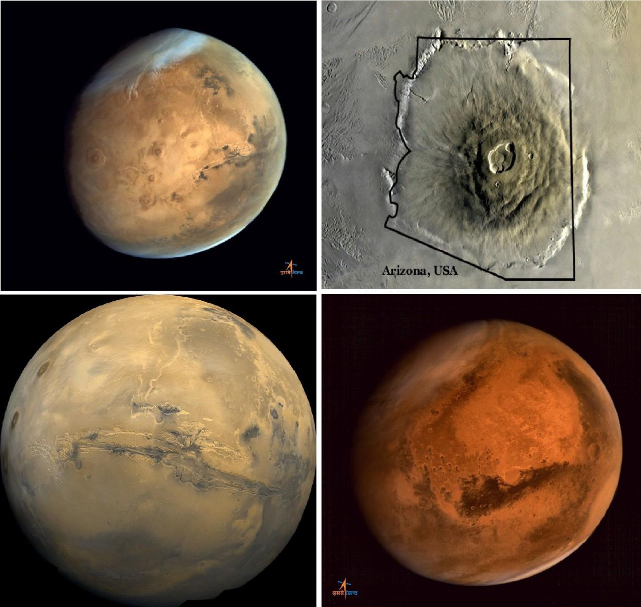 Орбитальные аппарат MOM передал изображения крупнейшего вулкана на Марсе