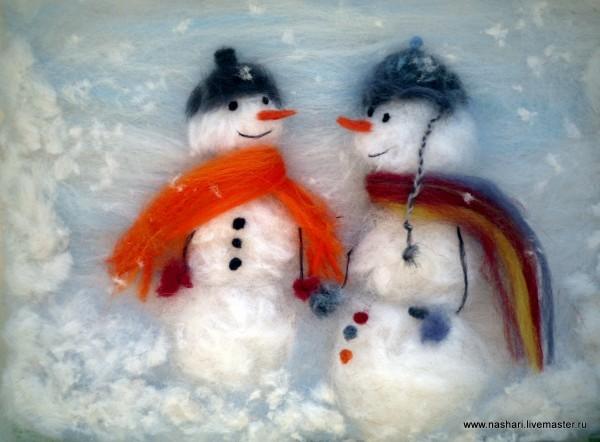 Зимние картины из шерсти: идеи для вдохновения вдохновляемся,творчество