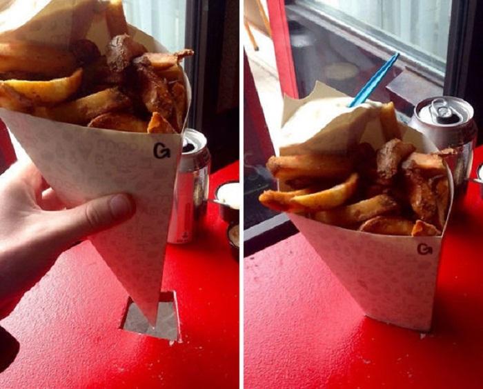 Идеальный способ размещения нестандартной упаковки с едой. | Фото: fishki.net.