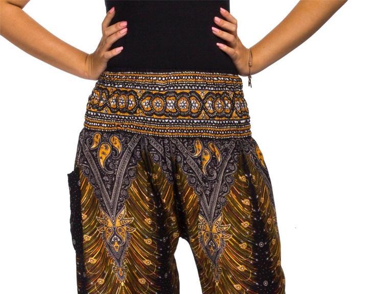 Фото готовых поясов на сшитых женских брюках, вариант 13