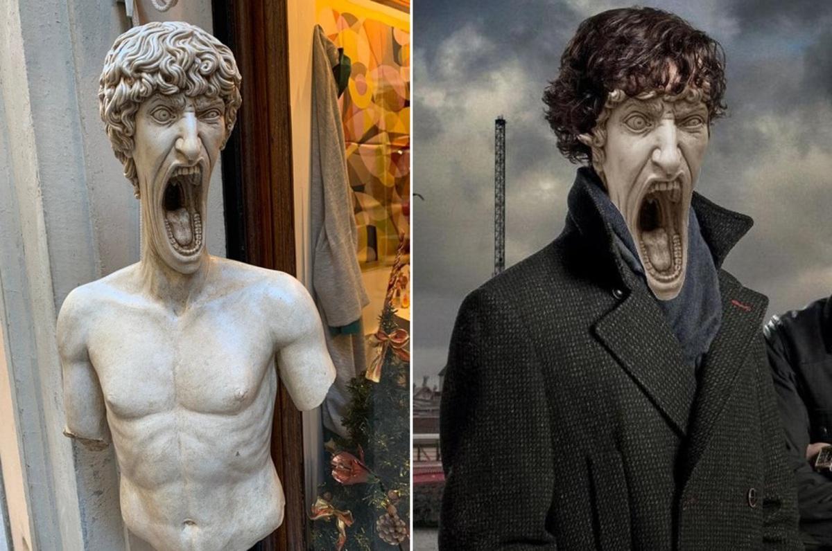 Орущая статуя стала объектом для шуток фотошоперов