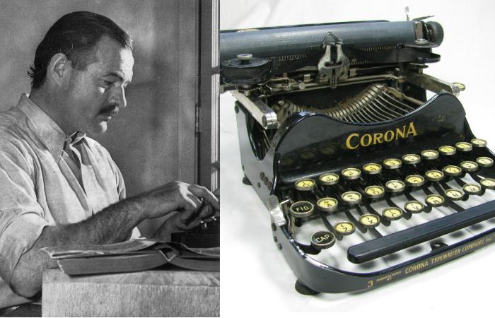 Эрнест Хемингуэй и его Corona No. 3.