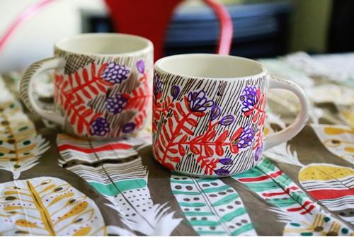 Роспись керамической кружки маркерами роспись,чашка