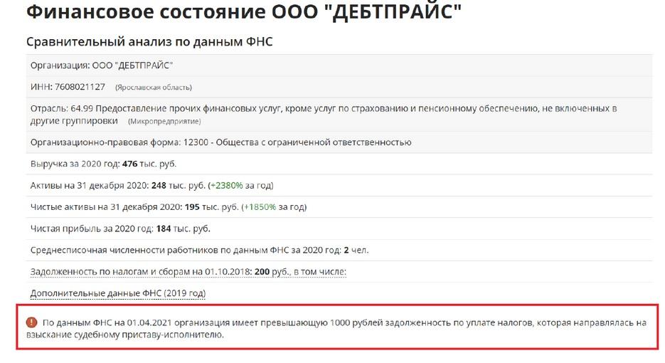 Зачем микрокомпания Debtprice из Ярославской области собирает данные российских должников? Экономика
