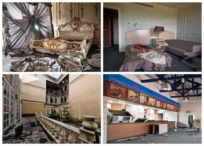 Былой роскоши отеля и ресторана, как и не бывало (Тематический парк «Русская деревня», Япония).