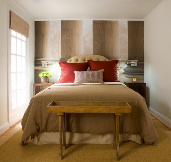 Если вам нравится красный цвет, то его тоже можно использовать в дизайне вашей спальне, оттенков красного очень много и они отлично сочетаются с пастельными или бежевыми цветами